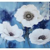 Flor Blanca fondo azul