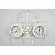 Reloj blanco percha termómetro