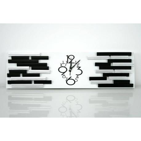 Reloj pared rectangular plata-negro