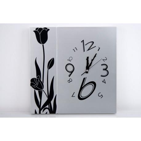 Reloj cuadrado negro-plata