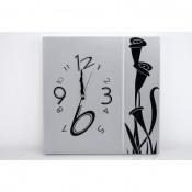 Reloj 40x40 cuadro plata-negro