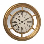 Reloj pared resina dorado y espejo