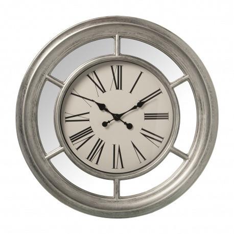 Reloj pared resina plateado y espejo